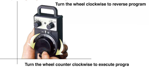 Turn the wheel clockwise to reverse program
