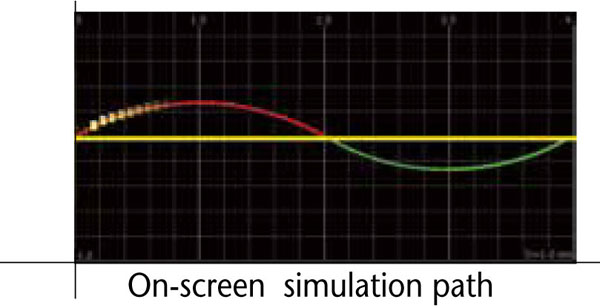 On-screen simulation path